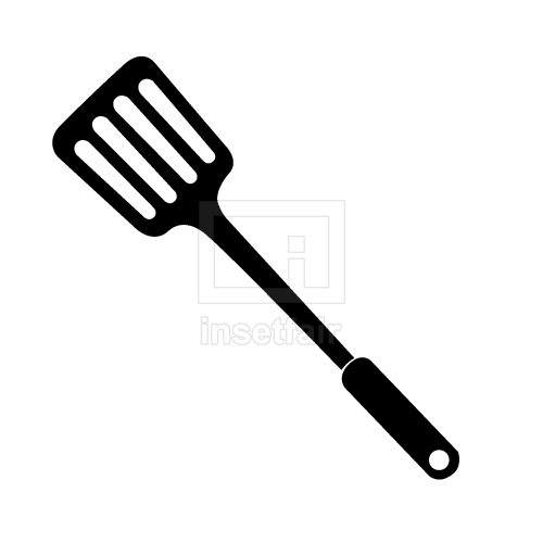 Wide blade slotted nylon spatula vector illustration png image