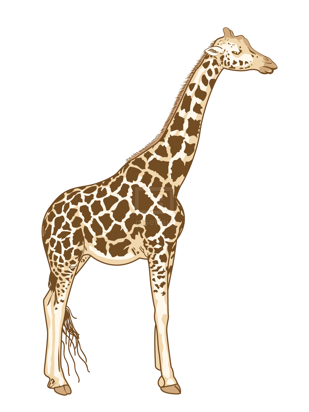 Lazy giraffe standing straight vector drawing free for commercial use