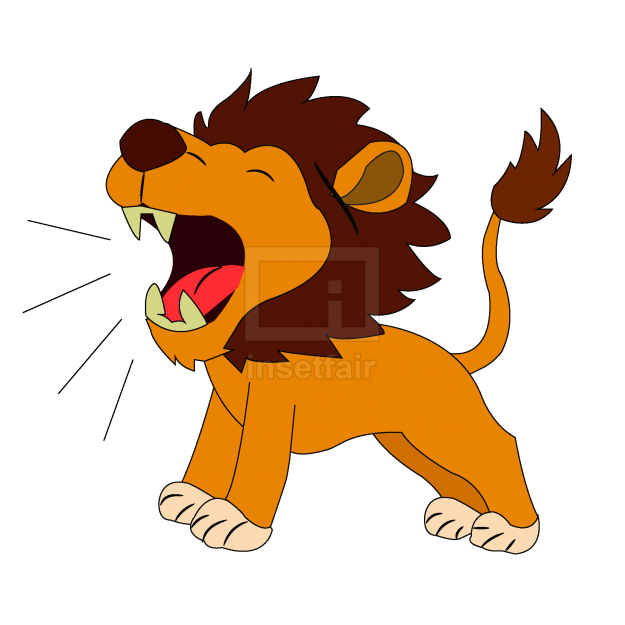Roaring lion vector cartoon illustration for free commercial use