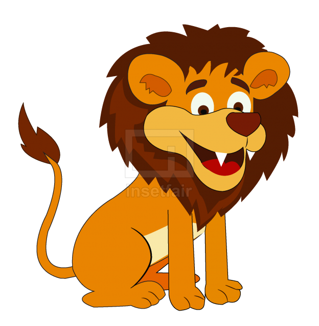 Sitting funny lion vector cartoon for free commercial use