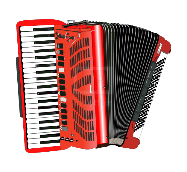 Reed organ type Accordion music instrument vector illustration with Adobe Flash