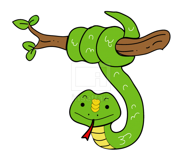 Snake hanging from a tree branch vector file