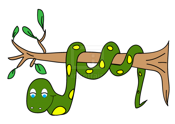 Cartoon snake hanging from a tree branch