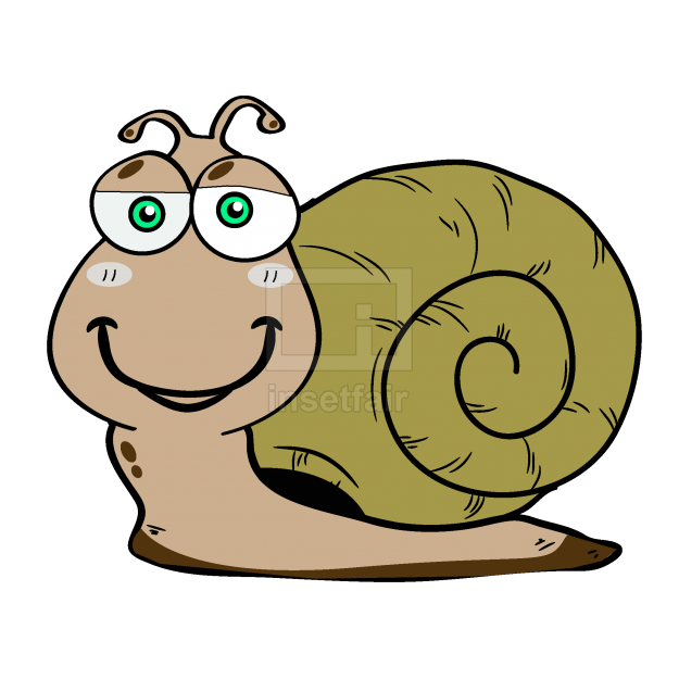 Laughing brown cartoon snail with shell free vector