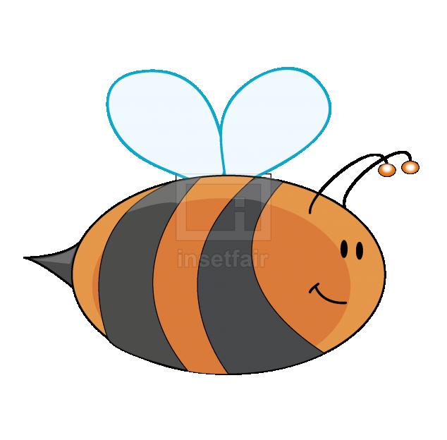 Flying cartoon bee vector art illustration