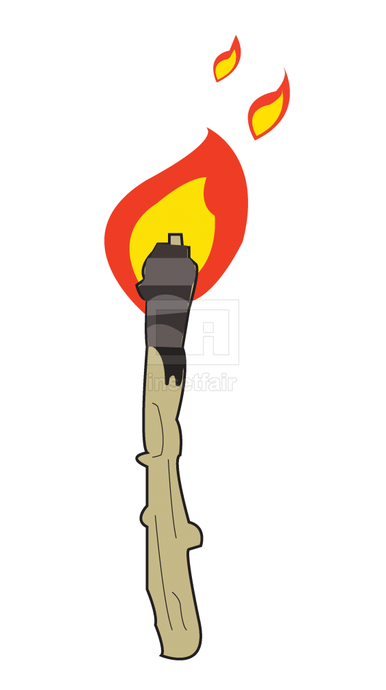 Retro flaming torch cartoon clipart png image free for commercial use