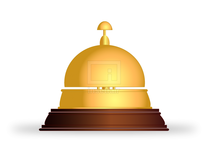 Shining gold reception bell free vector stock image