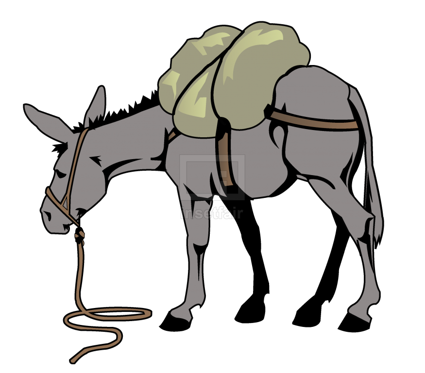 Donkey carrying luggage vector drawing with adobe illustrator free download png image