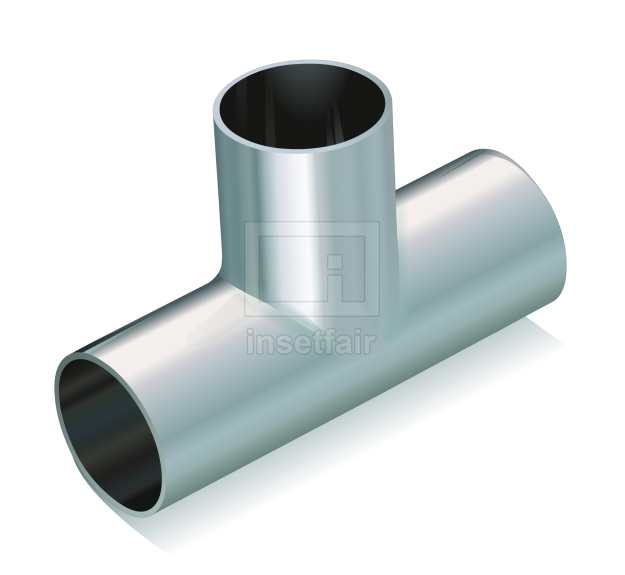 Tee joint separation tube connector metal hardware tools vector image