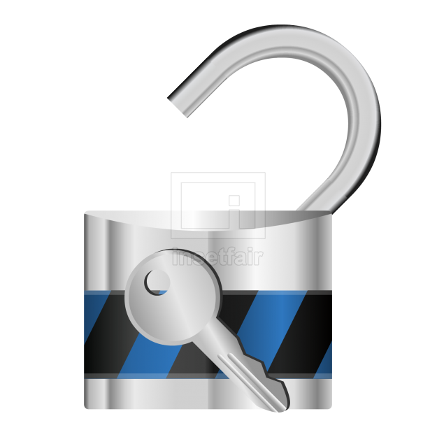Heavy duty iron lock with key security vector object png image