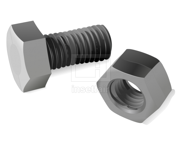 Hex nut bolt mild steel object tool vector flash illustration
