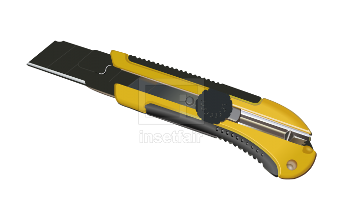 Paper cutter large size utility knife auto lock vector illustration