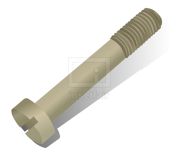 Zinc-Plated metal slotted flat head screw vector cartoon png file