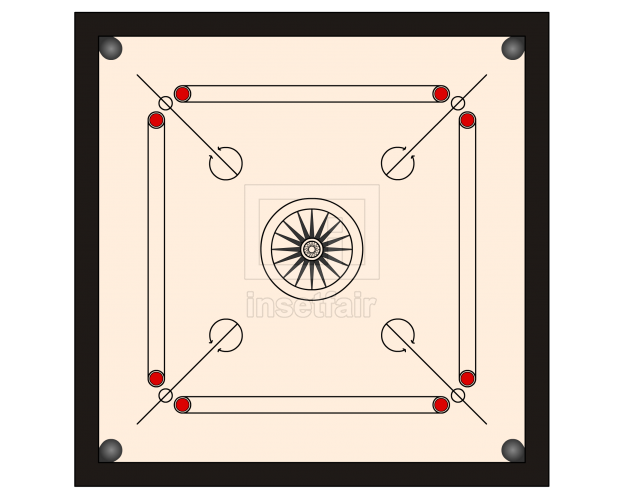 Carrom board clear vector illustration free PNG file