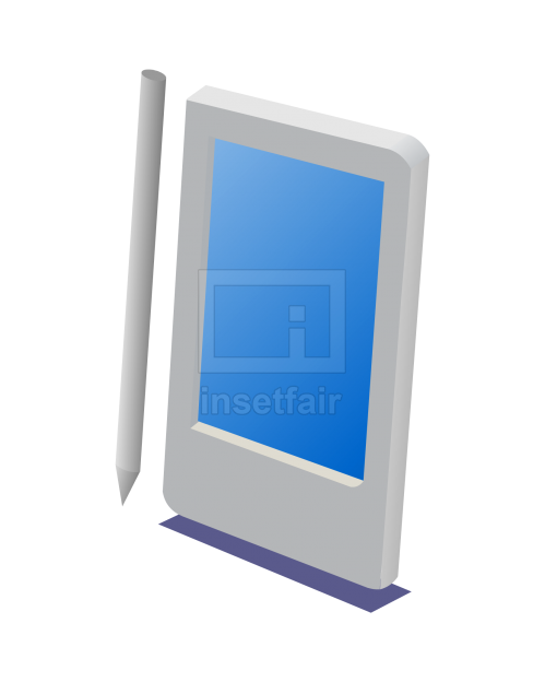 Personal touch pad with pen vector clipart png image