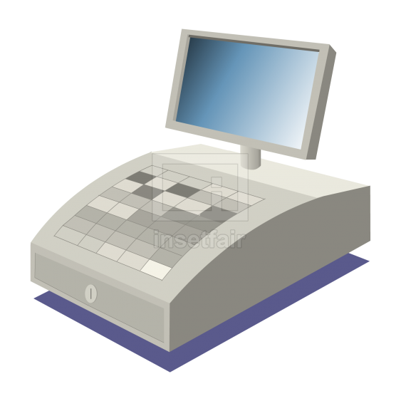 Billing machine with display screen vector flash graphics png image