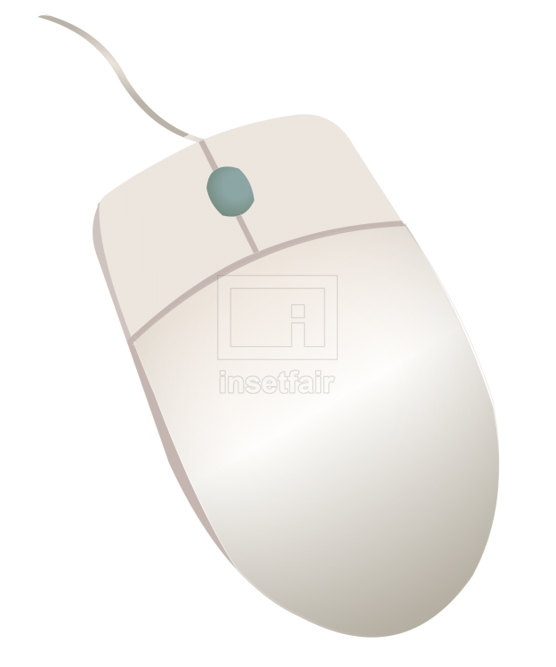 Wired computer mouse white png vector illustration