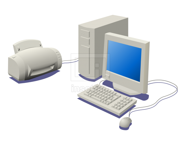 Desktop computer connected with printer flash vector graphics
