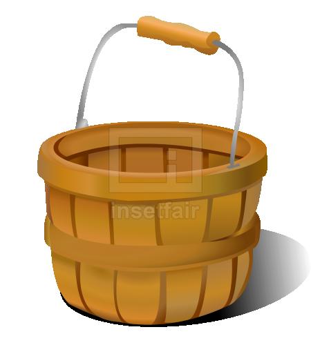 Empty bamboo basket with metal handle