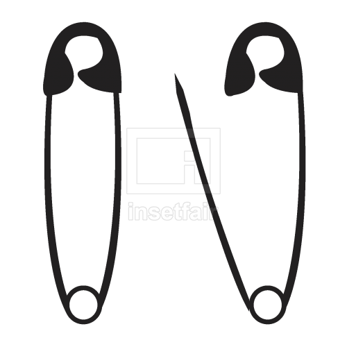 Safety pin solid black icons set free download