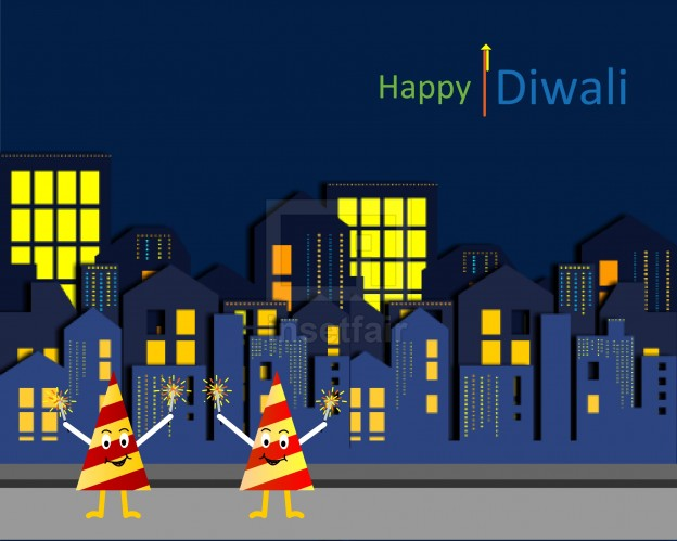 Happy diwali city flash vector building with crackers and lights