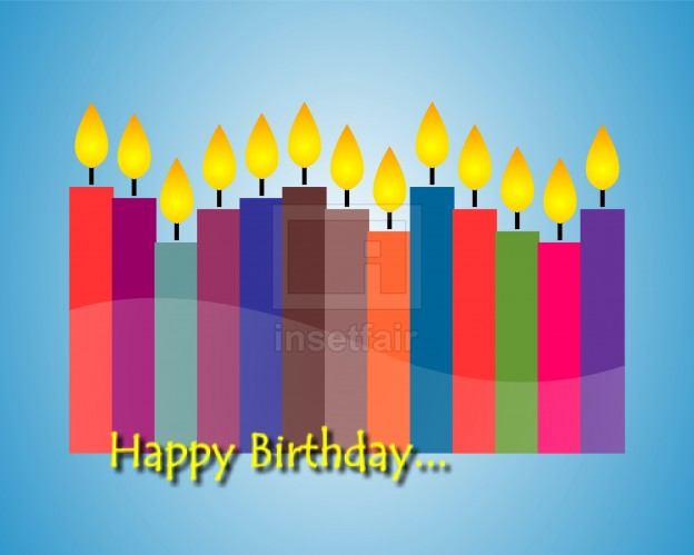 Happy birthday card design with color candles