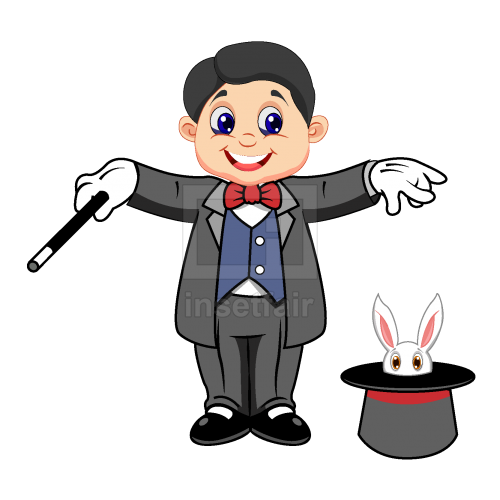 Magician with magic stick and hat vector png illustration adobe AI source free