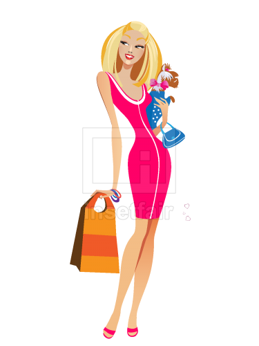 Female model with handbag and accessories vector illustration free png images