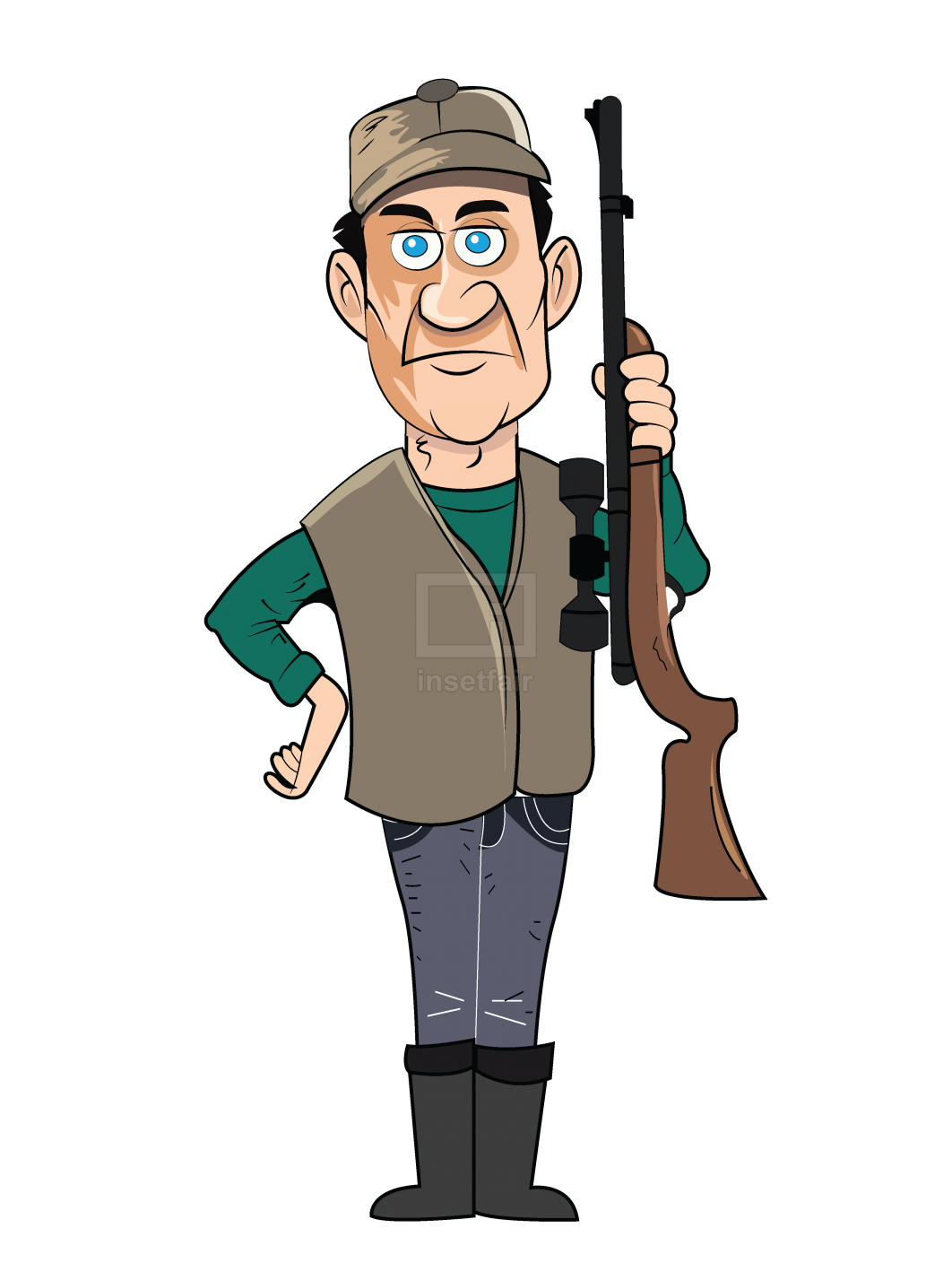 Hunter with gun vector png illustration adobe AI source free