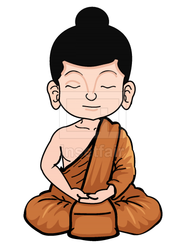 Buddhist monk meditating vector illustration free png images
