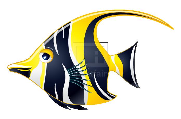 Moorish idol Fish beautiful black and yellow fish illustration