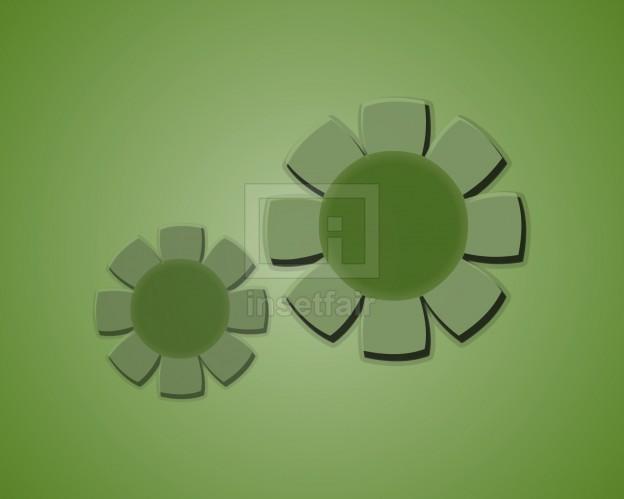 Embossed flowers 2d glowing green wallpaper creative vector design