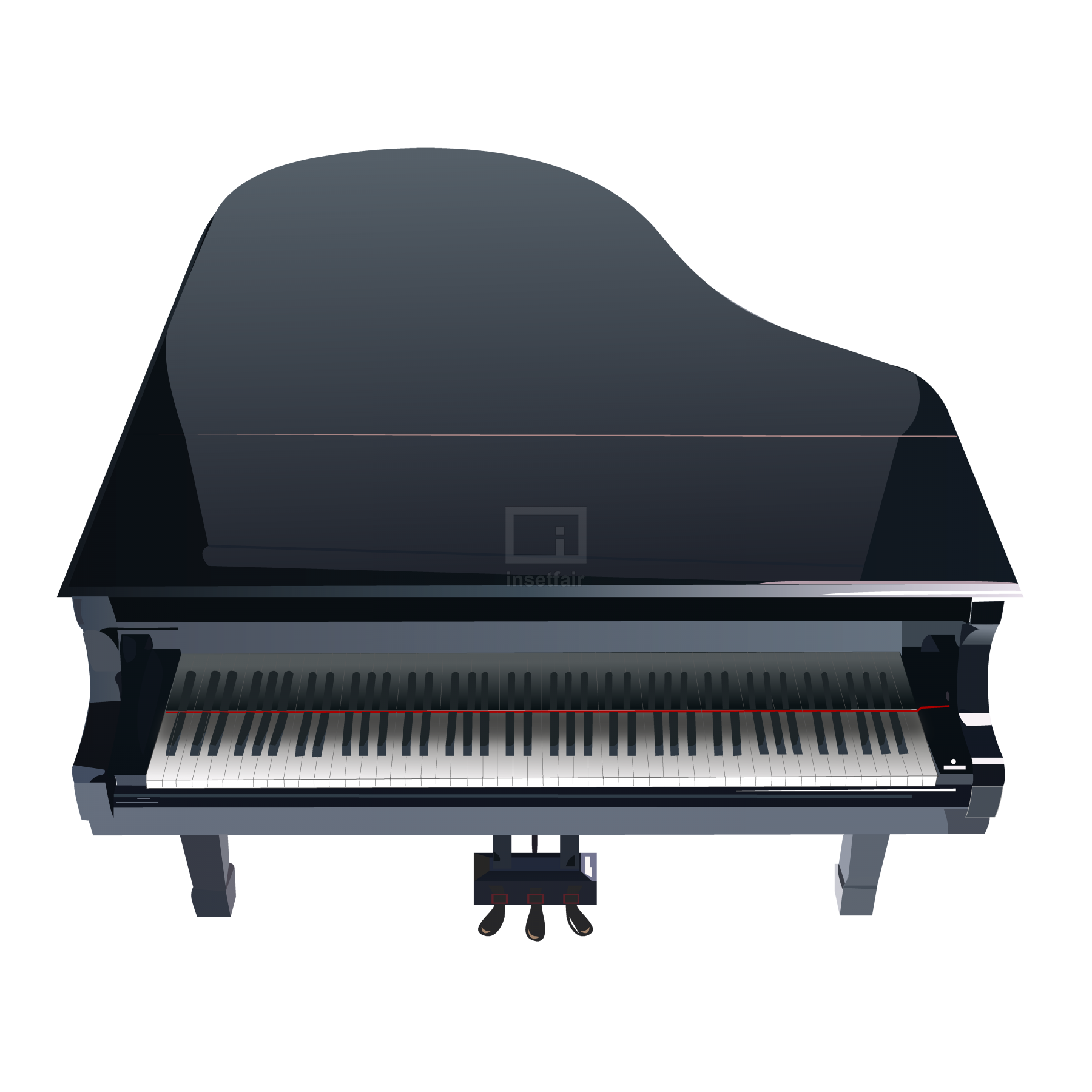 Concert Black Grand Piano top view stock Vector image