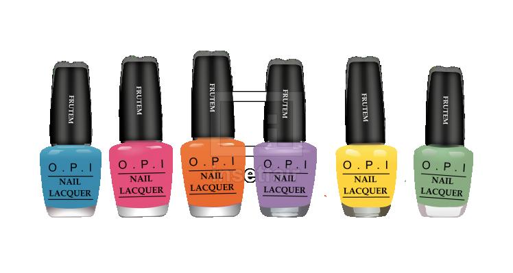 Colorful Nail Polish Bottle Set vector flash drawing