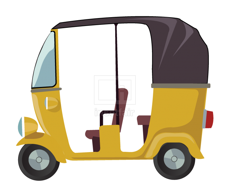 Auto rickshaw vector cartoon illustration free for commercial use