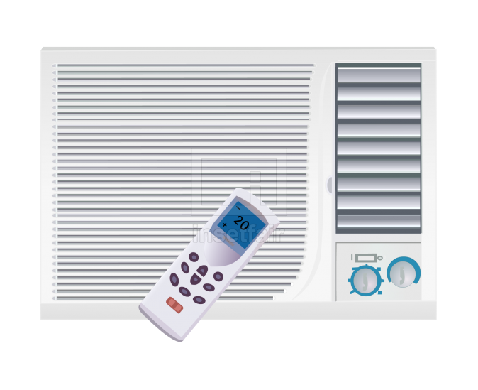 Window and split type air conditioners vector flash graphics