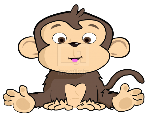 Monkey siting on the floor vector drawing free download png image at Insetfair
