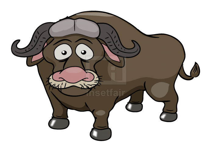 Sad Buffalo vector drawing free download png image and AI source file
