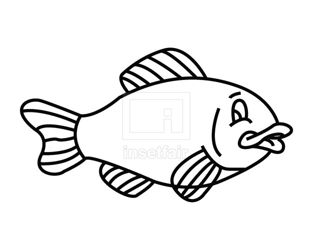 Fish line art coloring page vector clipart free png download