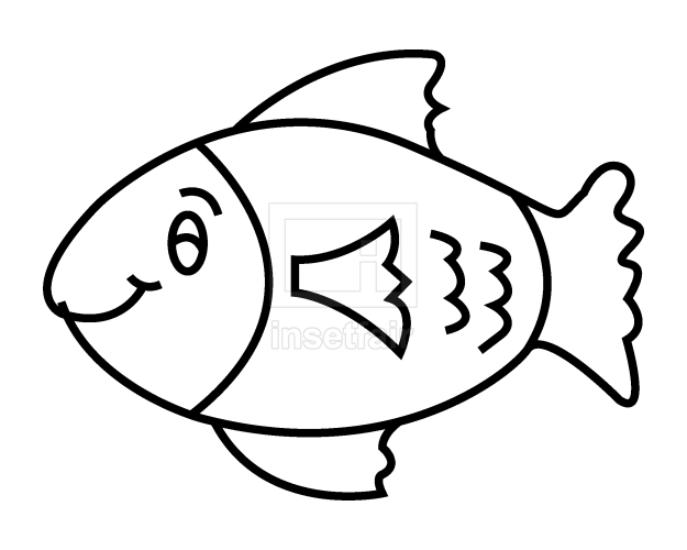 Fish line art simple vector clipart free png download