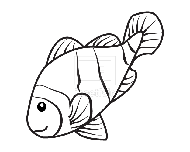 Vector clown fish outline drawing png stock coloring page
