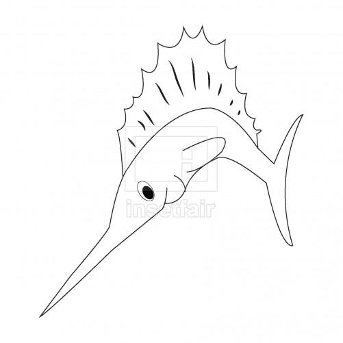 Vector sword fish outline drawing png stock coloring page