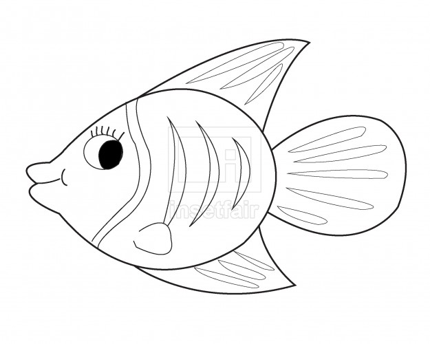 Vector tropical fish outline drawing png stock coloring page