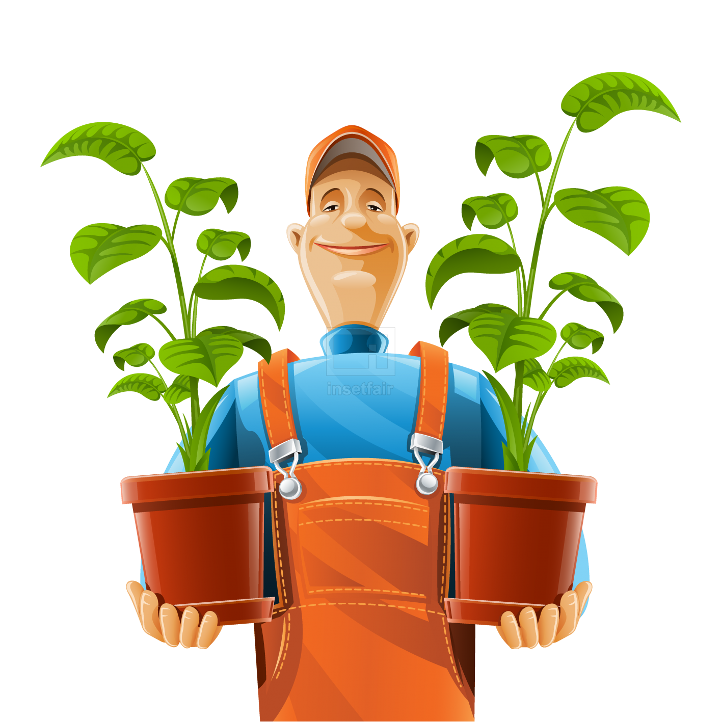 Gardener wit plants vector illustration free png images at Insetfair