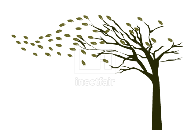 Autumn season tree with falling leaves vector illustration AI source file free download