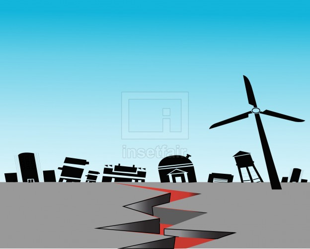 Earthquake in the city vector illustration AI source file free download