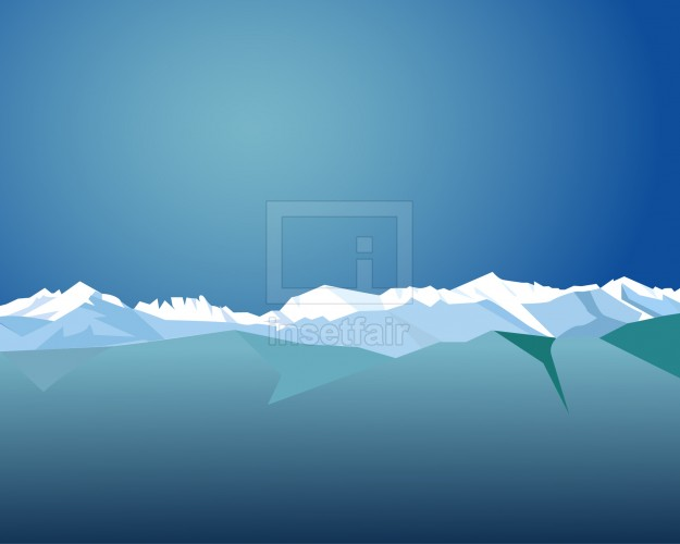 Glossy snow mountain with blue sky vector illustration AI source file free download