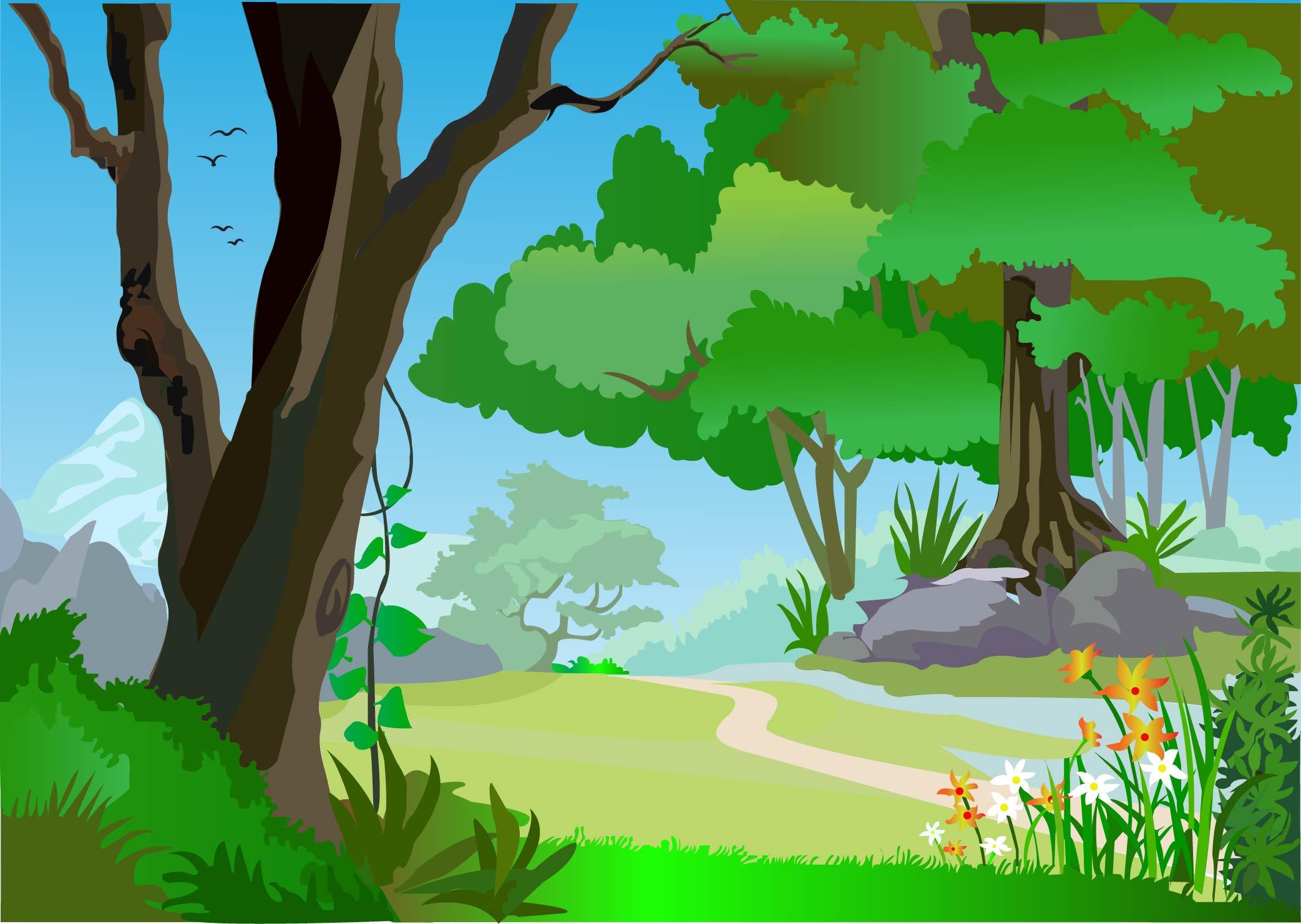 Green forest landscape with Adobe Illustrator