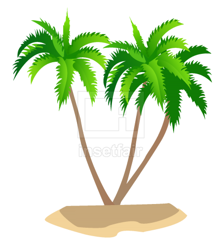 Green Coconut trees vector illustration AI source file free download