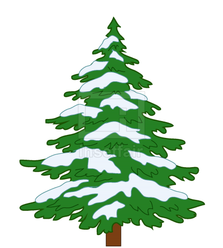Green x mas tree with snow vector illustration AI source file free download